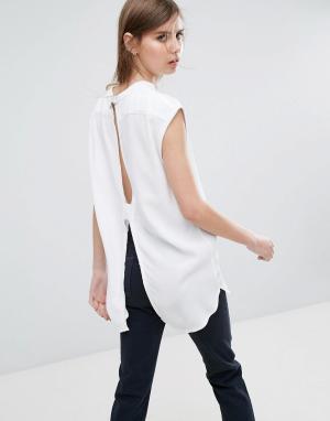 Weekday Рубашка без воротника с вырезом на спине. Цвет: белый