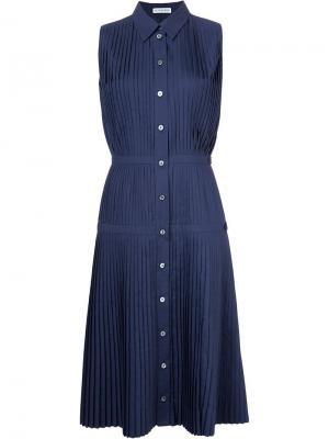 Плиссированное платье-рубашка Altuzarra. Цвет: синий