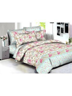 Комплект постельного белья Buenas noches Paris из люкс сатина 2-спальный. Цвет: светло-голубой, бежевый, розовый