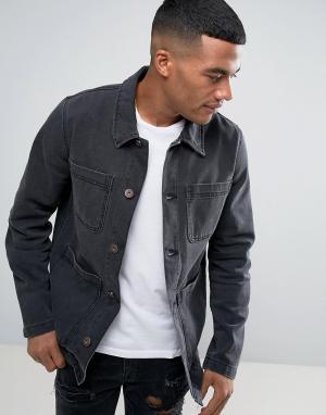 ASOS Черная выбеленная джинсовая куртка. Цвет: черный