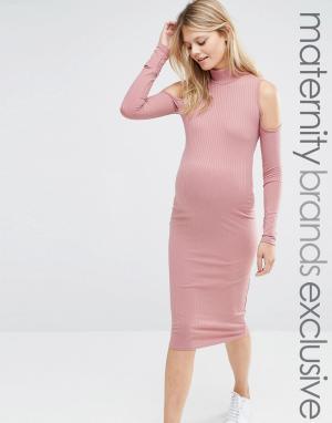Club Lounge Maternity Платье в рубчик для беременных с вырезами на плечах L Mate. Цвет: красный