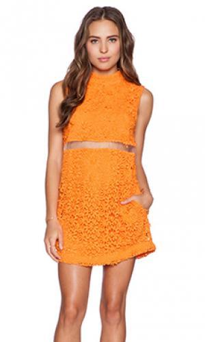 Кружевное мини-платье mexico city Casper & Pearl. Цвет: оранжевый