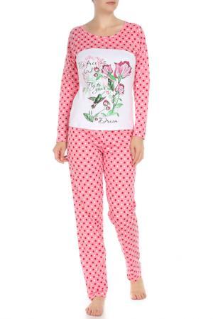 Комплект: лонгслив, брюки Веста. Цвет: розовый горох