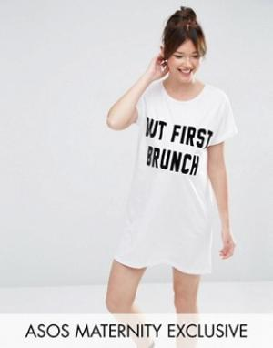ASOS Maternity Пижамная футболка для беременных с принтом But First Brunch Mater. Цвет: белый