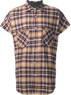 Рубашка в клетку с короткими рукавами Fear Of God. Цвет: коричневый