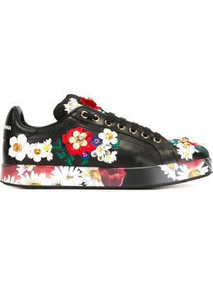 Туфли с цветочной вышивкой и элементом носка Dolce & Gabbana. Цвет: чёрный