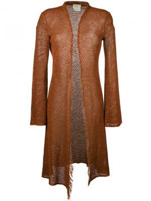 Длинный кардиган Forte. Цвет: коричневый