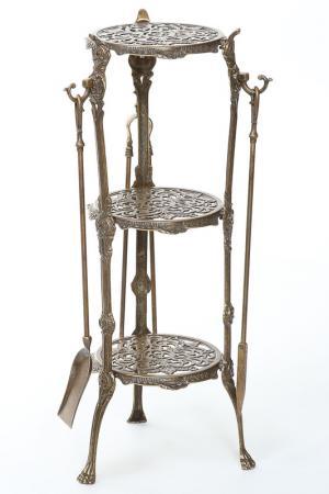 Столик с тремя аксессуарами Stilars. Цвет: бронзовый