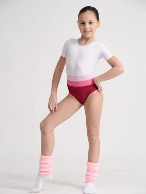 Гимнастический купальник EMDI. Цвет: красный, розовый, белый