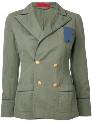 Двубортный пиджак The Gigi. Цвет: зелёный