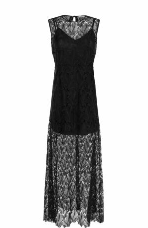 Шелковое кружевное платье-макси Diane Von Furstenberg. Цвет: черный