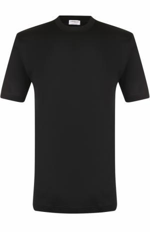 Хлопковая футболка с круглым вырезом Zimmerli. Цвет: черный