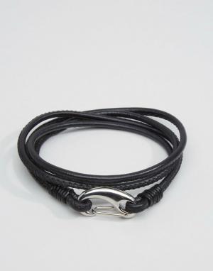 Seven London Черный кожаный браслет в несколько оборотов. Цвет: черный