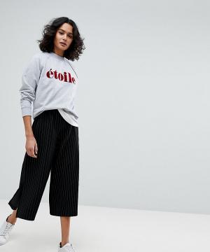 Selected Широкие брюки в полоску Femme. Цвет: черный