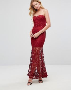 Liquorish Кружевное платье-бандо макси. Цвет: красный