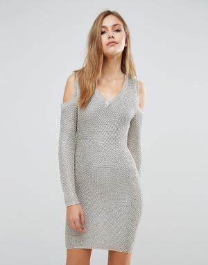 Wow Couture Платье-свитер с эффектом металлик и длинными рукавами. Цвет: золотой
