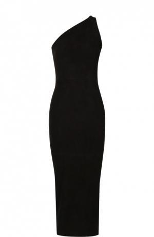 Платье-футляр с открытым плечом и декоративной молнией на спинке Balmain. Цвет: черный