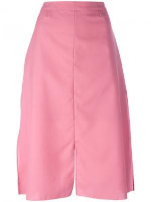 Юбка миди с разрезом Julien David. Цвет: розовый и фиолетовый