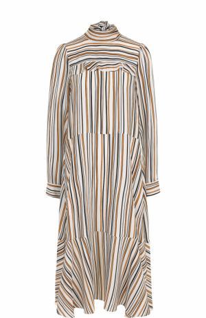 Шелковое платье-миди свободного кроя Dorothee Schumacher. Цвет: желтый