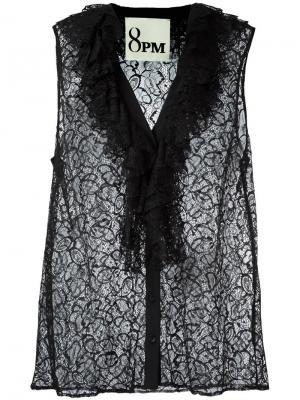 Кружевная блузка без рукавов 8pm. Цвет: чёрный