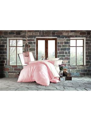 Комплект постельного белья PETRA Powder/Порошок, добби сатин, 200ТС, 100% хлопок, евро ISSIMO Home. Цвет: кремовый