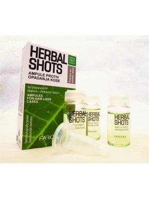Ампулы терапия от выпадения волос Herbal shots Farcom Mea Natura. Цвет: бежевый
