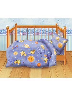 Комплект постельного белья детский бязь Кошки-мышки. Цвет: фиолетовый