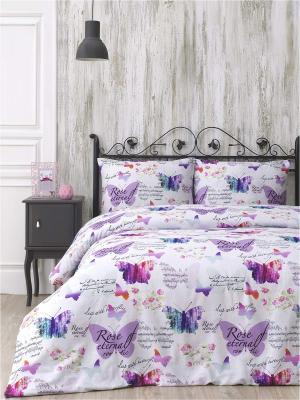 Комплект постельного белья VIEN ранфорс, 140ТС, 100% хлопок, евро ISSIMO Home. Цвет: розовый
