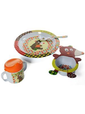 Набор посуды 4 предмета Мишка Ebulobo. Цвет: зеленый, белый, оранжевый, темно-коричневый