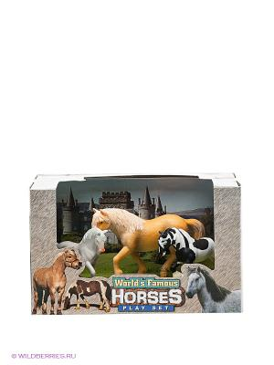 Игровой набор Лошади Happy Kin. Цвет: черный, рыжий, белый