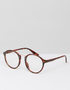 7X Круглые солнцезащитные очки с прозрачными стеклами. Цвет: коричневый
