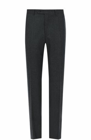 Шерстяные брюки прямого кроя Canali. Цвет: серый