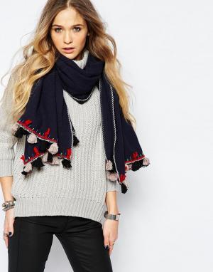 Blank Oversize-шарф с кисточками BL^NK. Цвет: темно-синий