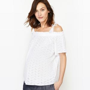 Блузка для периода беременности с открытыми плечами La Redoute Collections. Цвет: белый