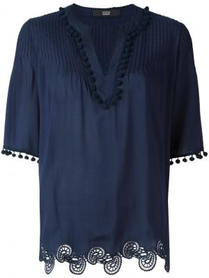Блузка с отделкой помпонами Steffen Schraut. Цвет: синий
