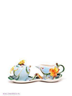 Набор сахарница и молочни Pavone. Цвет: голубой, оранжевый, зеленый