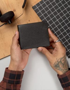 Systvm Кожаный бумажник с перфорацией. Цвет: черный