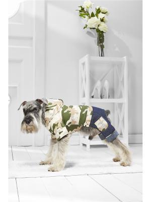 Утепленный комбинезон милитари для маленьких пород собак весом 4-8 кг и длиной спинки около 35 см Nothing but Love. Цвет: зеленый, бежевый, синий