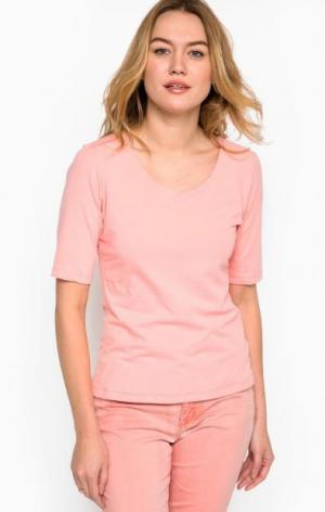 Коралловая футболка из хлопка MORE &. Цвет: коралловый
