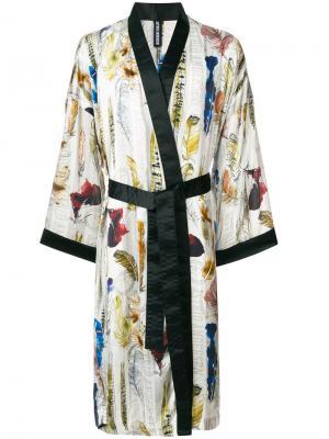Кимоно с принтом перьев Astrid Andersen. Цвет: белый