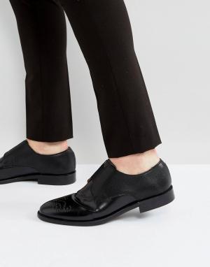 House of Hounds Черные кожаные туфли с тиснением Aiden. Цвет: черный