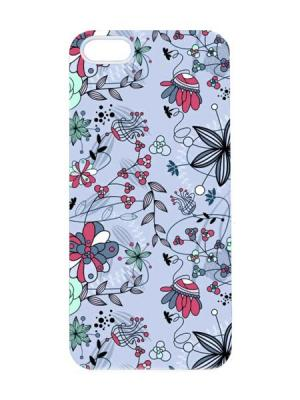 Чехол для iPhone 5/5s Лиловая абстракция Арт. IP5-034 Chocopony. Цвет: серо-голубой, черный