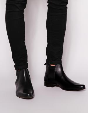 ASOS Кожаные ботинки Chelsea. Цвет: черный