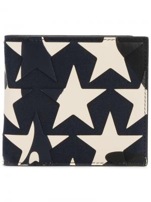 Бумажник со звездами Valentino. Цвет: синий