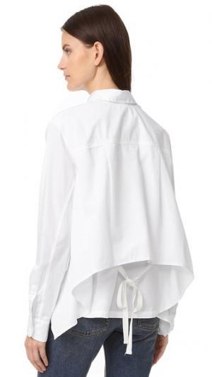 Рубашка с отделкой завязками Clu. Цвет: белый