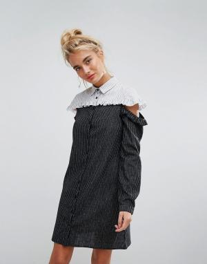 Willow and Paige Контрастное платье-рубашка в полоску с открытыми плечами и оборкой Wil. Цвет: синий