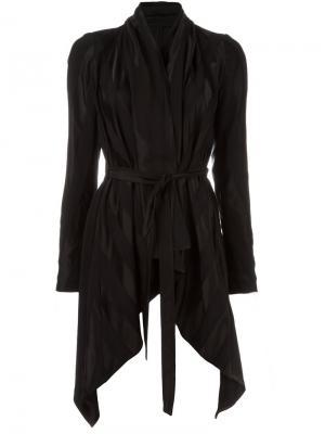 Пиджак с поясом и драпировкой Masnada. Цвет: чёрный