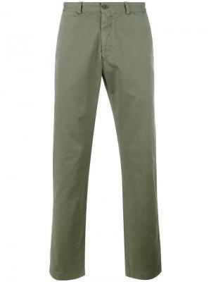 Классические брюки чинос Sunspel. Цвет: зелёный