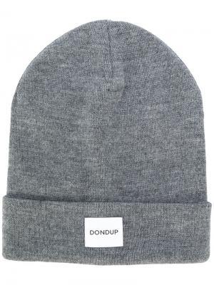 Трикотажная шапка с заплаткой логотипом Dondup. Цвет: серый