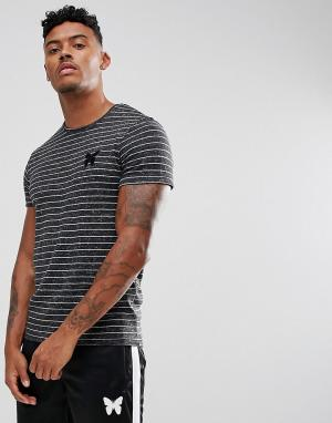 Good For Nothing Черная обтягивающая футболка с полосками. Цвет: черный